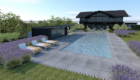 swimming pool with pool house and contemporary sun loungers